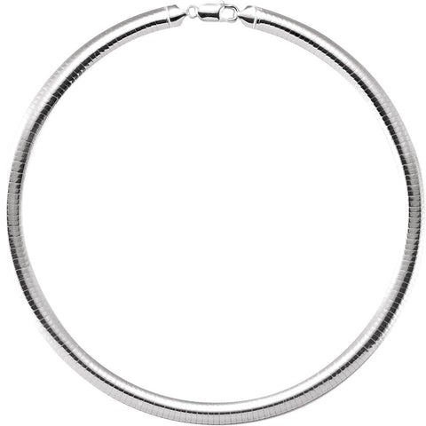 7.25 mm Domed Omega Chain in Sterling Silver ( 16-Inch )