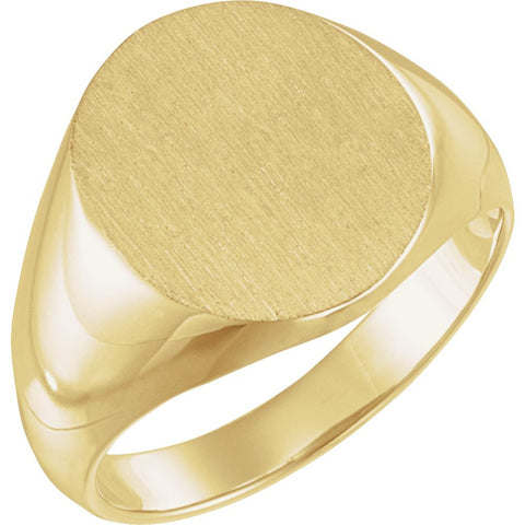 16.00X14.00 mm Men's Solid Oval Signet Ring with Brush Finished Top in 18k Yellow Gold ( Size 10 )