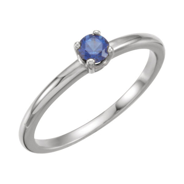 "14k White Gold Chatham® Lab-Grown Blue Sapphire ""September"" Birthstone Ring	, Size 3"