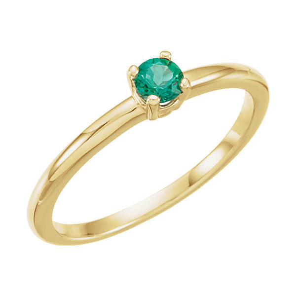 "14k Yellow Gold Chatham® Lab-Grown Emerald ""May"" Birthstone Ring, Size 3"
