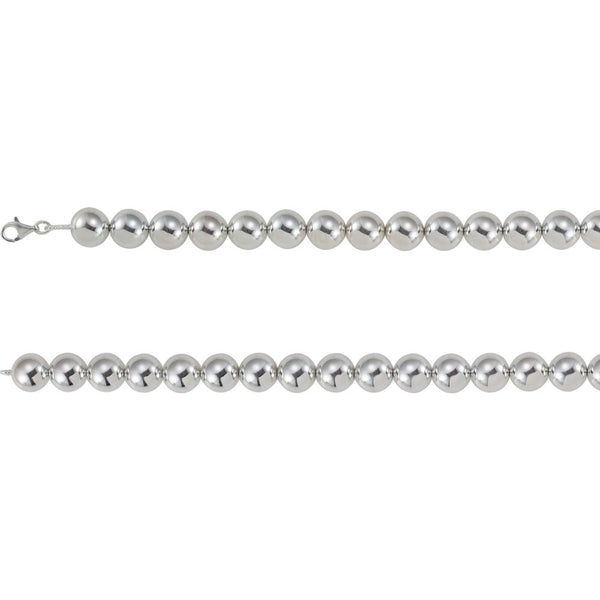 "Sterling Silver 16mm Bead 16"" Chain"