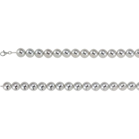 Sterling Silver 16mm Bead 20-inch Chain