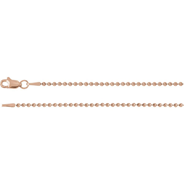 "14k Rose Gold 1.5mm Bead 16"" Chain"