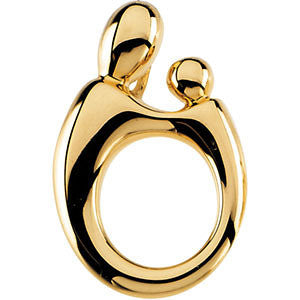 14k Yellow Gold 20.25x13.5mm Mother and Child® Hollow Back Pendant