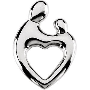 14k White Gold 19.25x13.5mm Mother and Child® Heart Pendant