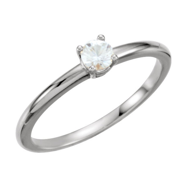 "14k White Gold White Sapphire ""April"" Youth Birthstone Ring, Size 3"