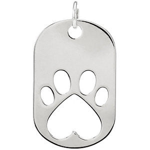 Sterling Silver Our Cause for Paws™ Dog Tag Necklace or Pendant