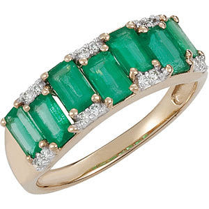 14k Yellow Gold Emerald & Diamond Accented Ring, Size 7