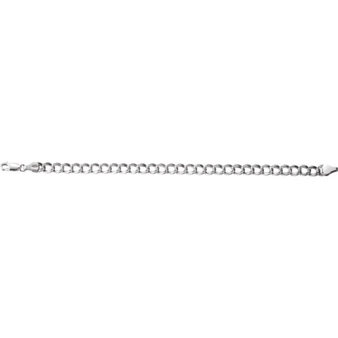 "Sterling Silver 5.5mm Hollow Paralleo Charm 7"" Bracelet"