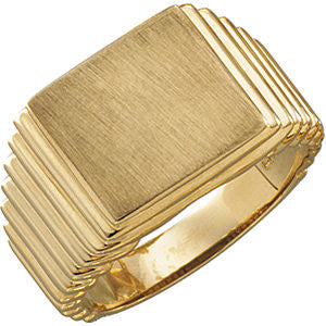 14k Yellow Gold 13x14mm Square Signet Ring , Size 10