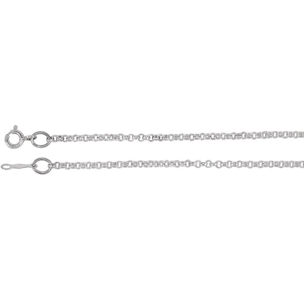 "Sterling Silver 2mm Rolo 7"" Chain"