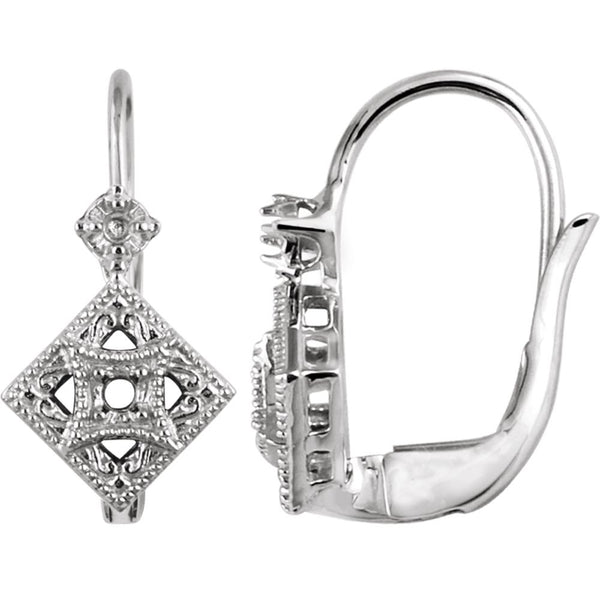 14k White Gold Filigree Earring Mountings