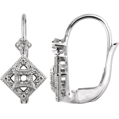 14K White Gold Filigree Dangle Earrings