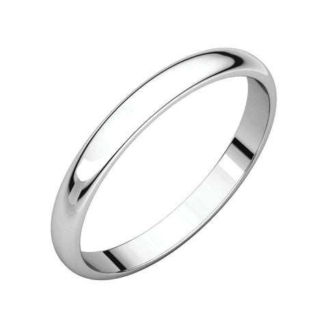 Platinum 2.5mm Half Round Light Band for Kids, Size 3