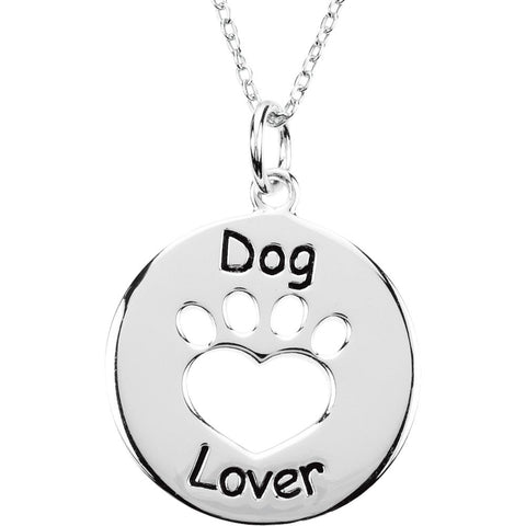 Heart U Back Dog Lover Paw Pendant With Chain in Sterling Silver