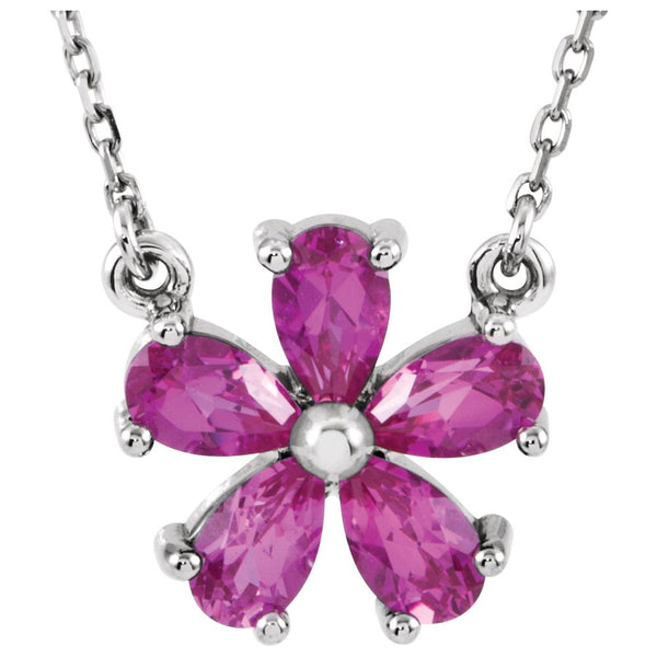 "14k White Gold Chatham® Created Pink Sapphire 16"" Necklace"