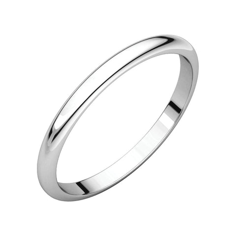 10k White Gold 2mm Half Round Band for Kids, Size 3