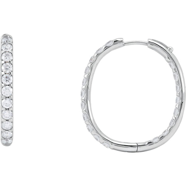 14k White Gold 3 CTW Diamond Inside/Outside Hoop Earrings