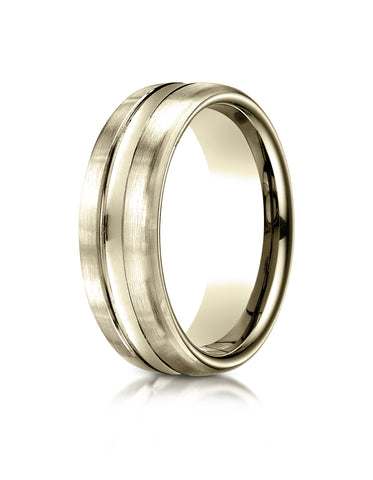 Benchmark 14K Yellow Gold 7.5mm Comfort-Fit Satin-Finished High Polished Center Cut Carved Design Ring