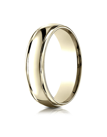 Benchmark 14K Yellow Gold 6mm Comfort-Fit High Polished Carved Design Wedding Band Ring