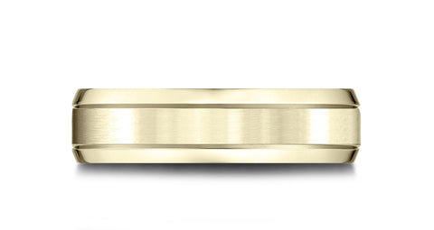 Benchmark-14k-Yellow-Gold-6.5mm-Comfort-Fit-Satin-Finished-w/-Beveled-Edge-Carved-Design-Band--Size-4.5--LCF66543614KY04.5