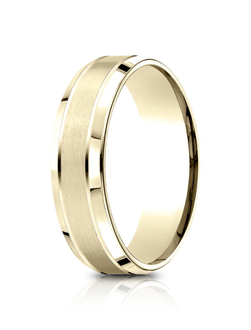 Benchmark-14k-Yellow-Gold-6.5mm-Comfort-Fit-Satin-Finished--Polished-Beveled-Edge-Carved-Dsgn-Band--Sz-4--LCF66543614KY04