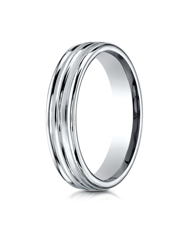 Benchmark Palladium 4mm Comfort-Fit Satin High Polish Center Trim and Round Edge Carved Design Band Ring