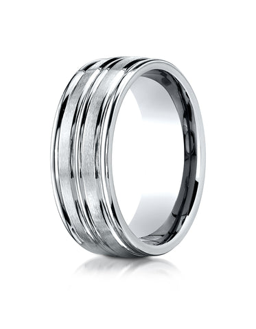 Benchmark 10K White Gold 8mm Comfort-Fit with High Polish Center Trim and Round Edge Carved Design Ring