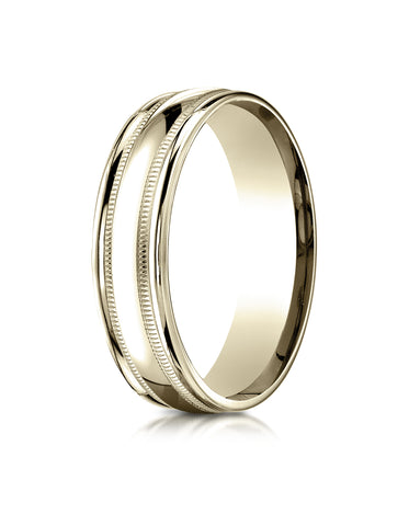 Benchmark 18K Yellow Gold 6mm Comfort-Fit with Milgrain Round Edge Carved Design Wedding Band Ring