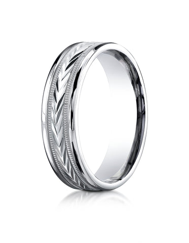Benchmark Palladium 6mm Comfort-Fit Harvest of Love Round Edge Carved Design Wedding Band Ring