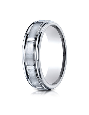 Benchmark Palladium 6mm Comfort-Fit Satin-Finish 8 Center Cuts and Round Edge Carved Design Band Ring