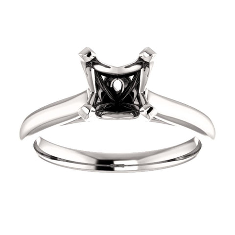 14k White Gold 5mm Square Engagement Ring Mounting, Size 7