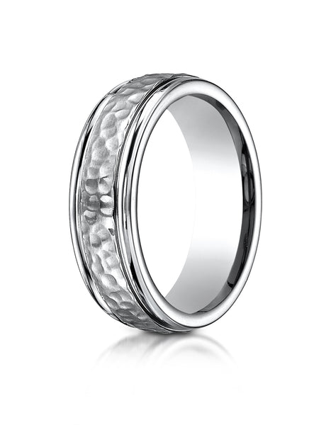 Benchmark Titanium 7mm Comfort-Fit Hammered-Finished Design Wedding Band Ring, (Sizes 6 - 14)