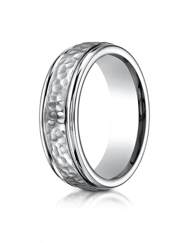 Benchmark-Titanium-7mm-Comfort-Fit-Hammered-Finished-Design-Wedding-Band-Ring--Size-6--67502T06