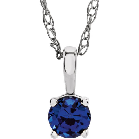 "14k White Gold Chatham« Created Blue Sapphire ""September"" Birthstone 14-inch Necklace"