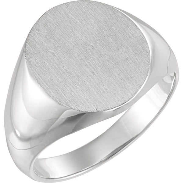 14k White Gold 18x16mm Solid Oval Men's Signet Ring, Size 11