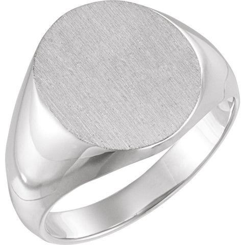 18.00x16.00 mm Men's Solid Oval Signet Ring with Brush Finished Top in 14K White Gold ( Size 10 )