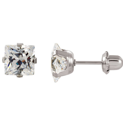 Pair of 07.00 mm Inverness Palladium Plated Square Cubic Zirconia Earrings in Nickel Plated