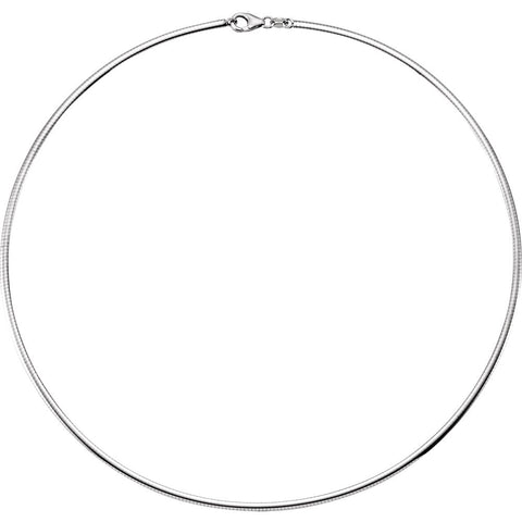 2.30 mm Reversible Matte and Polish Finish Omega Chain in Sterling Silver ( 18.00-Inch )