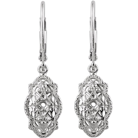 14k White Gold Filigree Design Earring Mounting