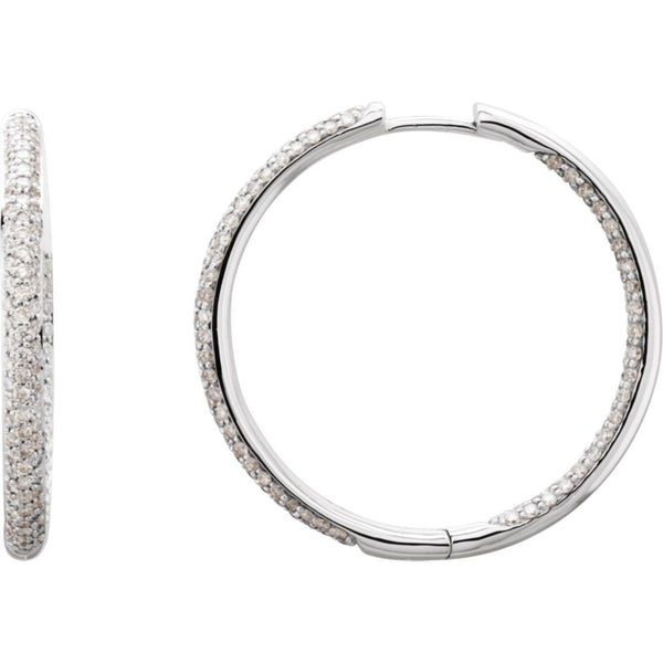 18k White Gold 1 1/2 CTW Diamond Inside/Outside Hoop Earrings