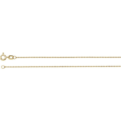 1.0 mm Solid, Bead Chain in 14k Yellow Gold ( 24-Inch )