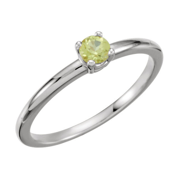 "Sterling Silver Imitation Peridot ""August"" Youth Birthstone Ring, Size 3"