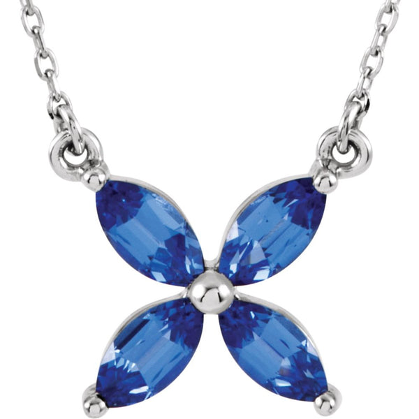 "14k White Gold Chatham® Created Blue Sapphire 16"" Necklace"