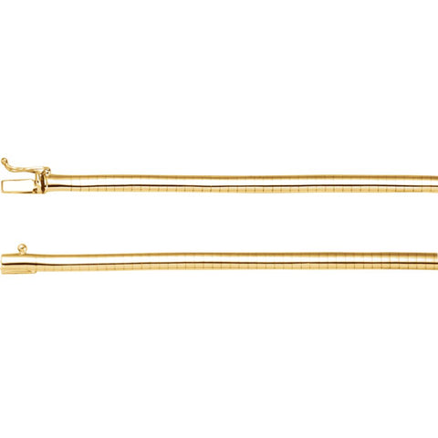 14K Yellow Gold 4mm Omega 18-Inch Chain