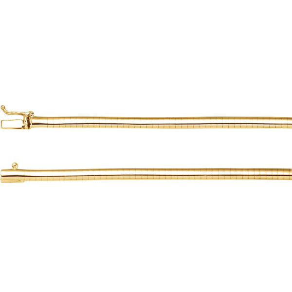 "14k Yellow Gold 4mm Omega 16"" Chain"