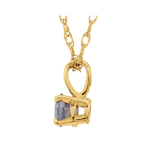 "14k Yellow Gold Chatham® Created Alexandrite ""June"" Birthstone 14"" Necklace"