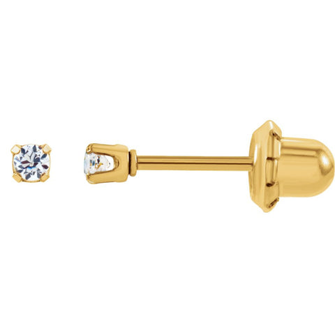 Cubic Zirconia Inverness Piercing Earrings in 24k Gold Plated Stainless Steel