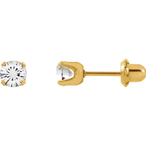Crystal Inverness Piercing Earrings in 24k Gold Plated Stainless Steel