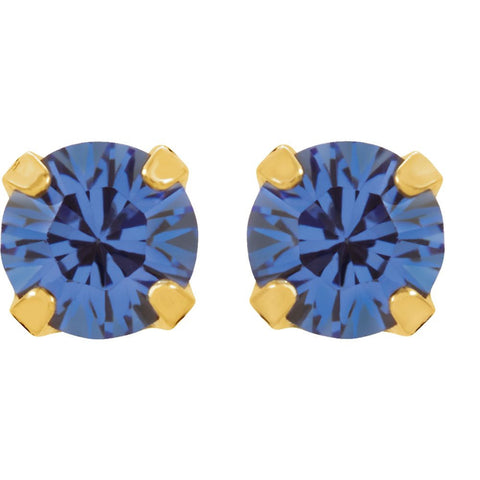 "24K Yellow with Stainless Steel Solitaire ""September"" Birthstone Piercing Earrings"